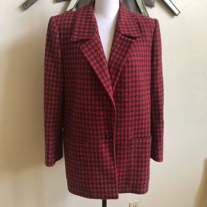 Long red houndstooth blazer